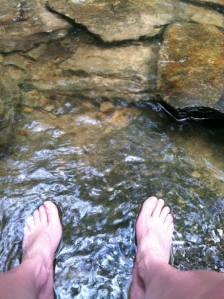 Hanging Rock Toes in Stream